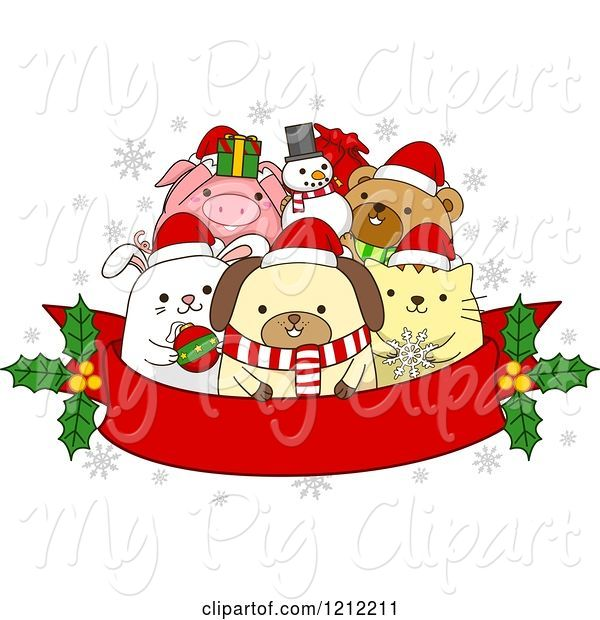 Swine Clipart of Cartoon Red Christmas Banner with Holly and Festive Animals