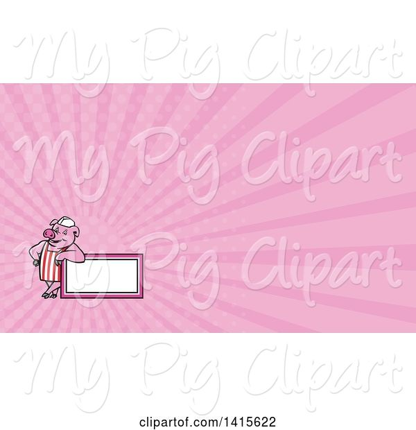 Swine Clipart of Cartoon Retro Butcher Pig Leaning on a Blank Sign and Pink Rays Background or Business Card Design