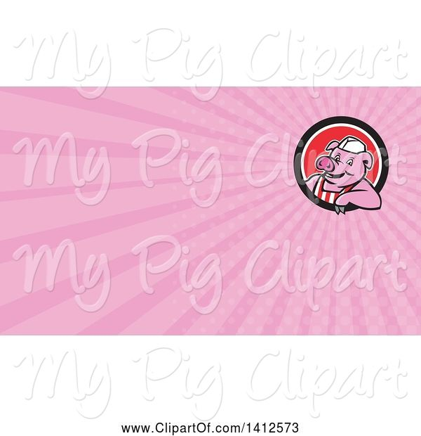 Swine Clipart of Cartoon Retro Butcher Pig Leaning out of a Black White and Red Circle and Pink Rays Background or Business Card Design
