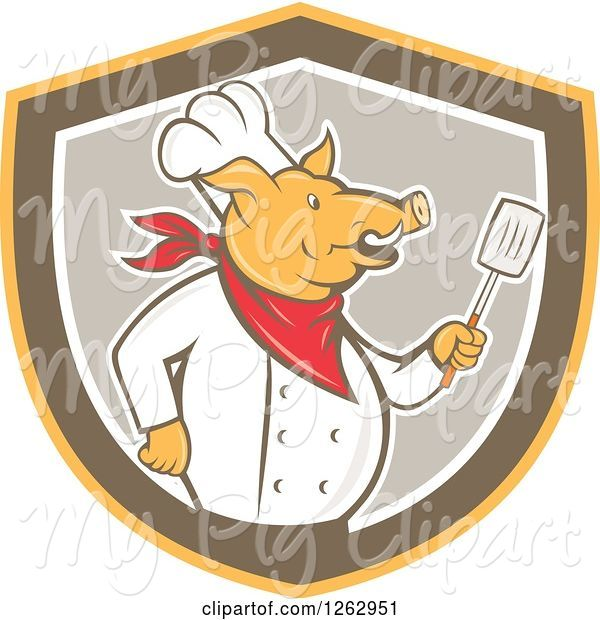Swine Clipart of Cartoon Retro Chef Pig Holding a Spatula in a Yellow Brown and Taupe Shield