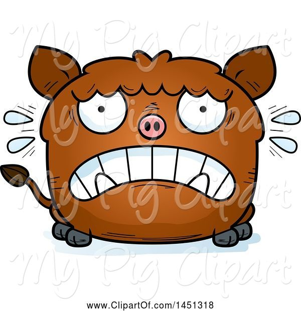 Swine Clipart of Cartoon Scared Boar Character Mascot
