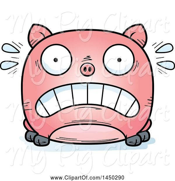 Swine Clipart of Cartoon Scared Pig Character Mascot