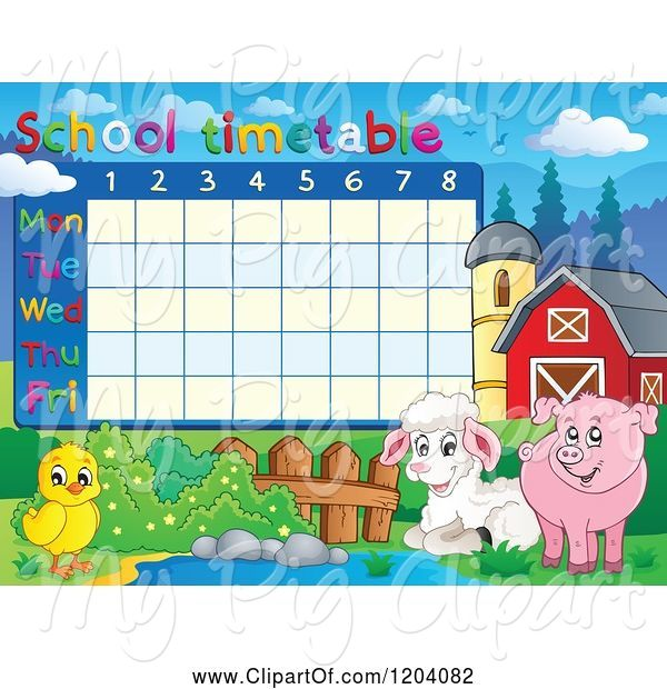 Swine Clipart of Cartoon School Time Table with Farm Animals