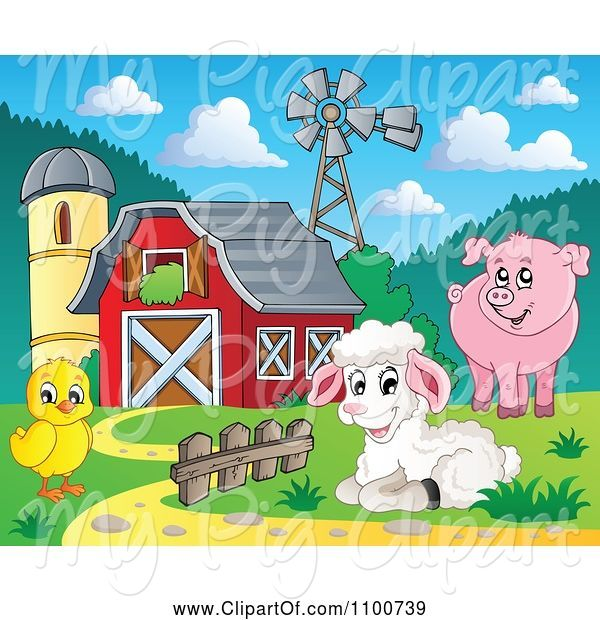 Swine Clipart of Cartoon Sheep Chicken Pig by a Red Barn Silo and Windmill