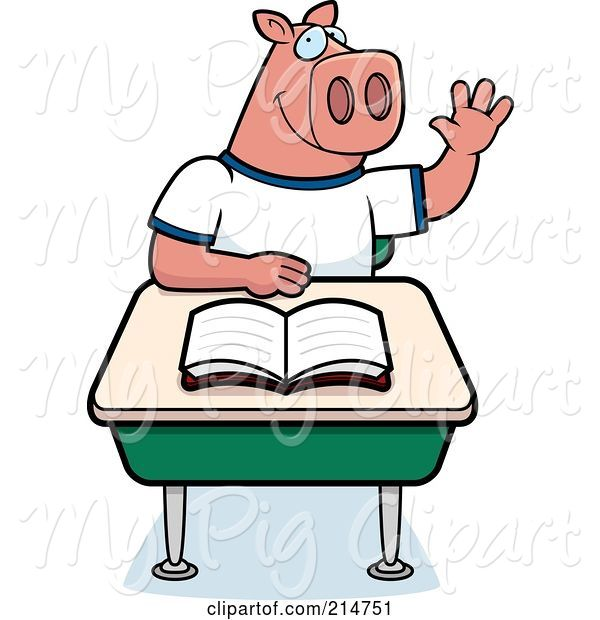 Swine Clipart of Cartoon Smart Pig Student Raising His Hand in Class