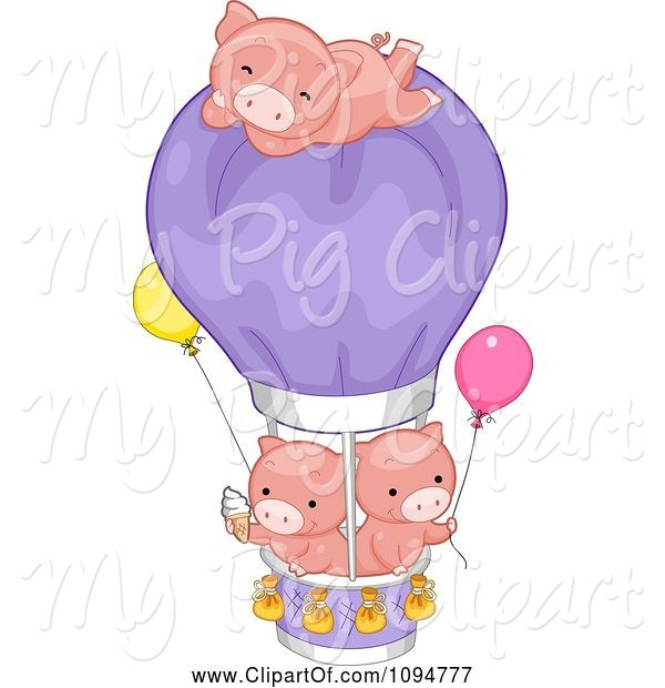 Swine Clipart of Cartoon Three Cute Pigs with Ice Cream a Hot Air Balloon and Helium Balloons