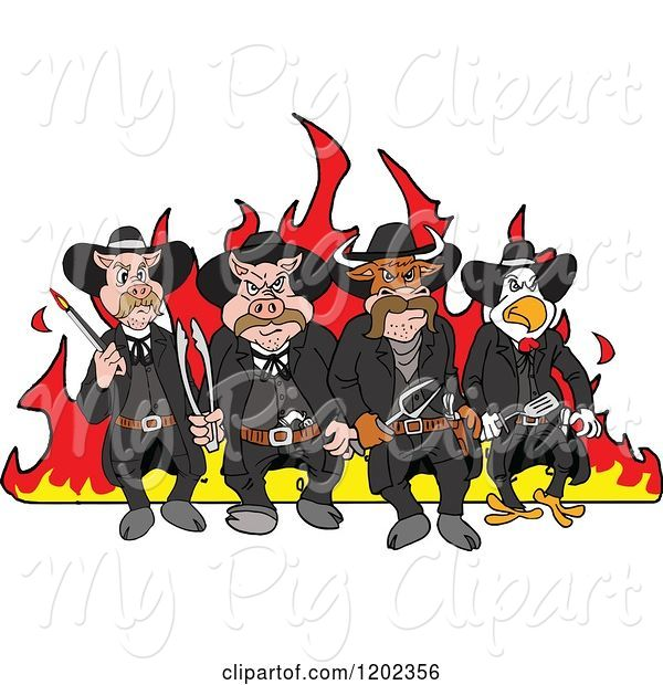 Swine Clipart of Cartoon Tough Cow Rooster and Pig Lawmen Walking in Front of Flames with Bbq Tools