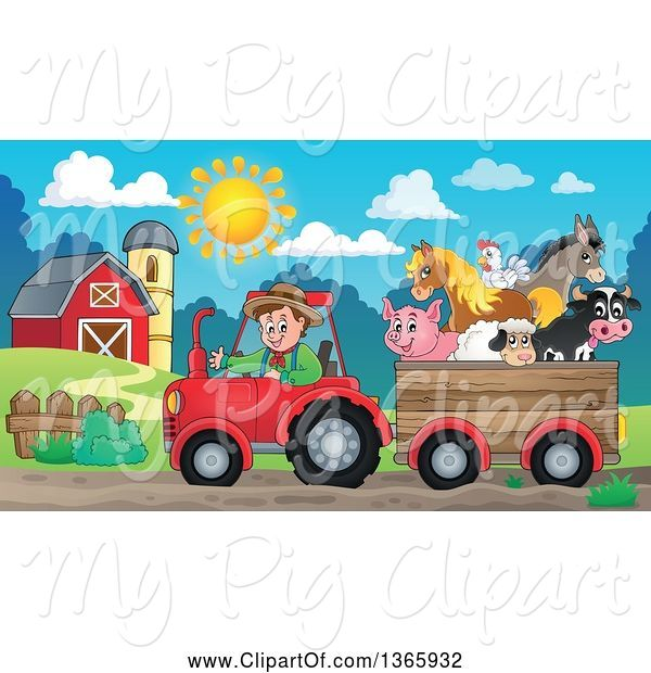 Swine Clipart of Cartoon White Male Farmer Driving a Tractor and Pulling Livestock Animals in a Cart near a Barn