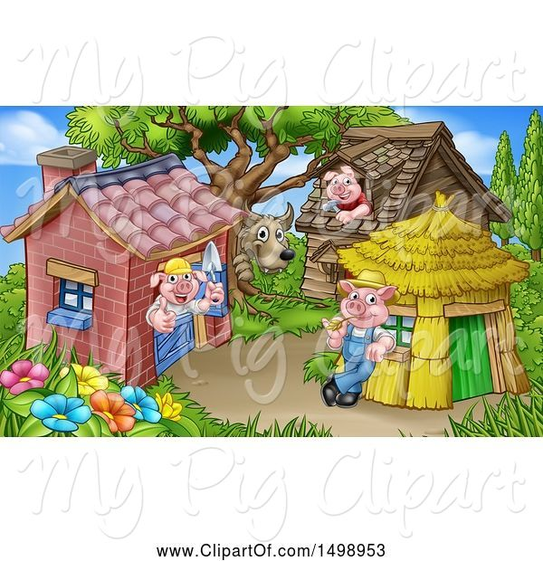 Swine Clipart of Cartoon Wolf and Piggies from the Three Little Pigs Fairy Tale, at Their Brick, Wood and Straw Houses