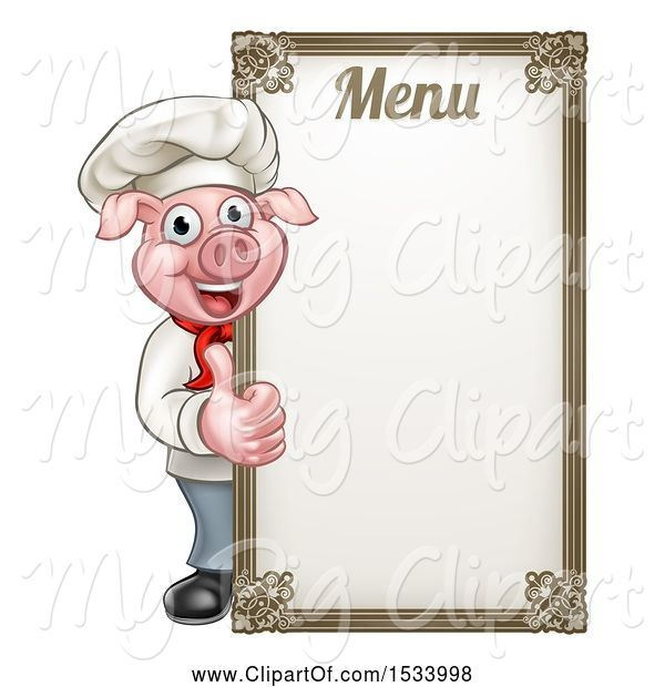 Swine Clipart of Chef Pig Giving a Thumb up Around a Menu Board