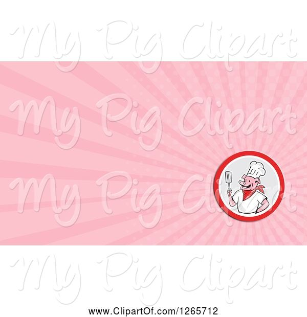 Swine Clipart of Chef Pig Holding a Spatula and Pink Ray Business Card Design