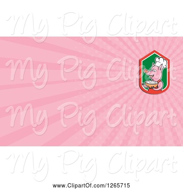 Swine Clipart of Chef Pig Holding Soup and Pink Ray Business Card Design