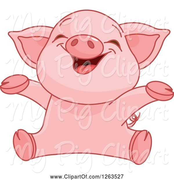 Swine Clipart of Cute Baby Piglet Cheering