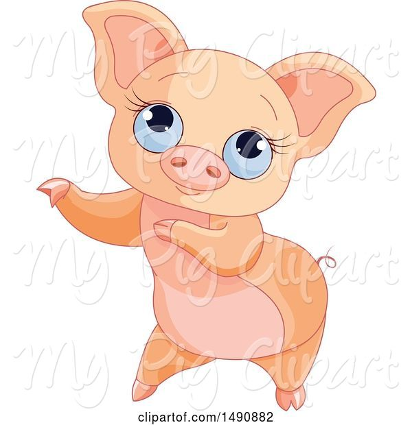 Swine Clipart of Cute Blue Eyed Curly Tailed Piglet Dancing