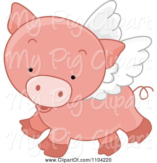 Swine Clipart of Cute Cartoon Winged Pig Flying