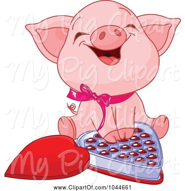 Swine Clipart of Cute Piglet Laughing over a Box of Valentine's Day Chocolates