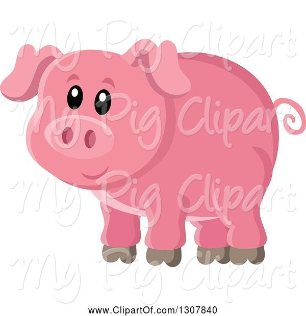Swine Clipart of Cute Pink Piggy