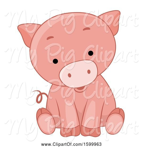 Swine Clipart of Cute Sitting Piglet
