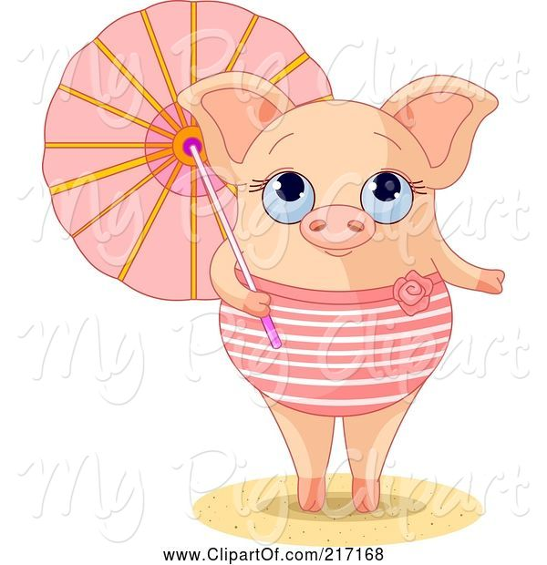 Swine Clipart of Cute Summer Piglet in a Swimsuit, Holding a Parasol