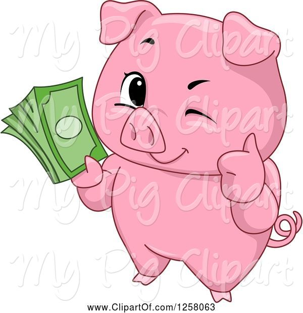 Swine Clipart of Cute Winking Pig Holding a Thumb up and Cash