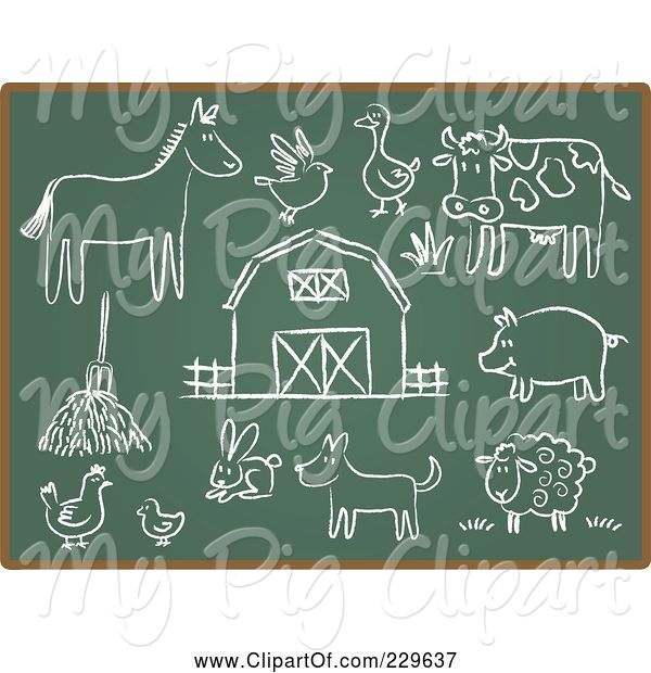 Swine Clipart of Digital Collage of Chalkboard Sketch Icons - 3