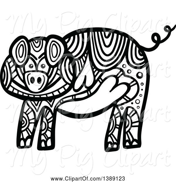 Swine Clipart of Doodled Black and White Pig