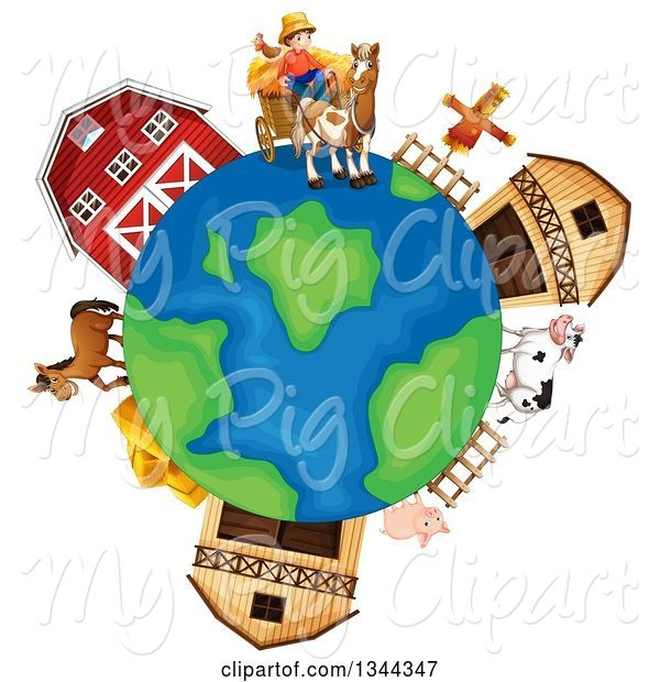 Swine Clipart of Earth Globe with a Farmer, Livestock and Barns