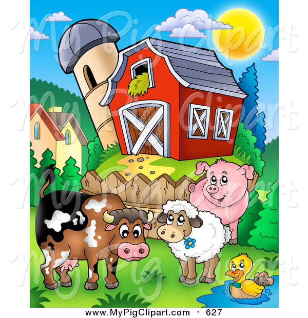 Swine Clipart of Farm Animals by a Fence near a Barn and Silo Granary