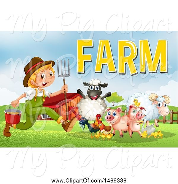 Swine Clipart of Farmer Boy with Animals and Text