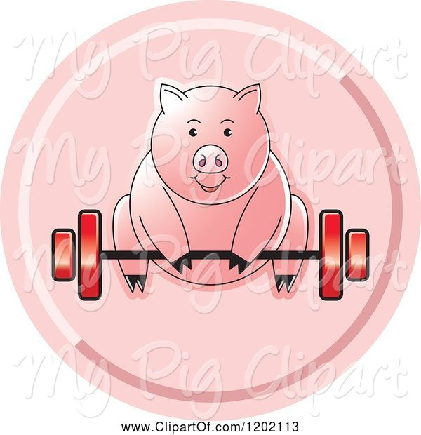 Swine Clipart of Fit Pig Exercising and Lifting a Barbell Icon