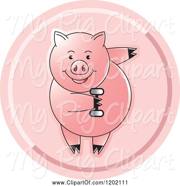Swine Clipart of Fit Pig Exercising with a Dumbbell Icon