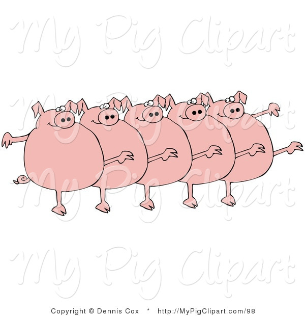 Swine Clipart of Five Chubby Pink Pigs Kicking Their Legs up While Dancing in a Chorus Line