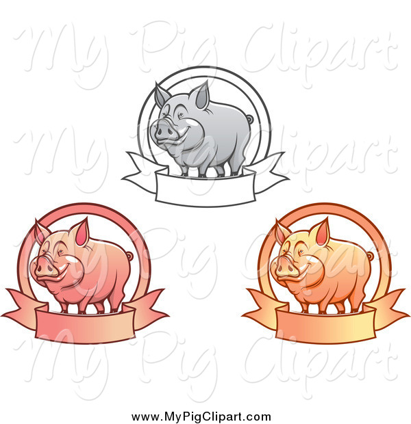 Swine Clipart of Grayscale Pink and Orange Happy Pigs with Banners