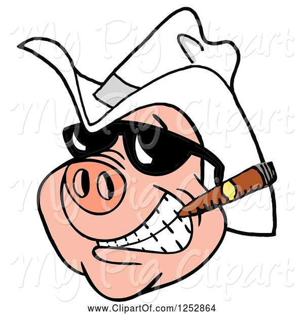 Swine Clipart of Grinning Pig Smoking a Cigar and Wearing a Cowboy Hat