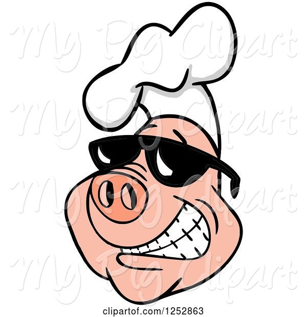 Swine Clipart of Grinning Pig Wearing a Chefs Hat and Shades