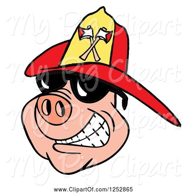 Swine Clipart of Grinning Pig Wearing Shades and a Red Fire Hat