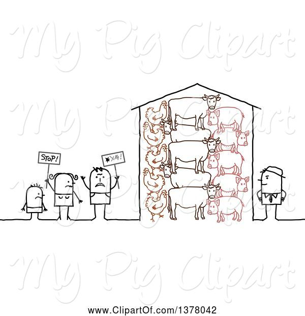Swine Clipart of Group of Activists Protesting Farm Animal Cruelty
