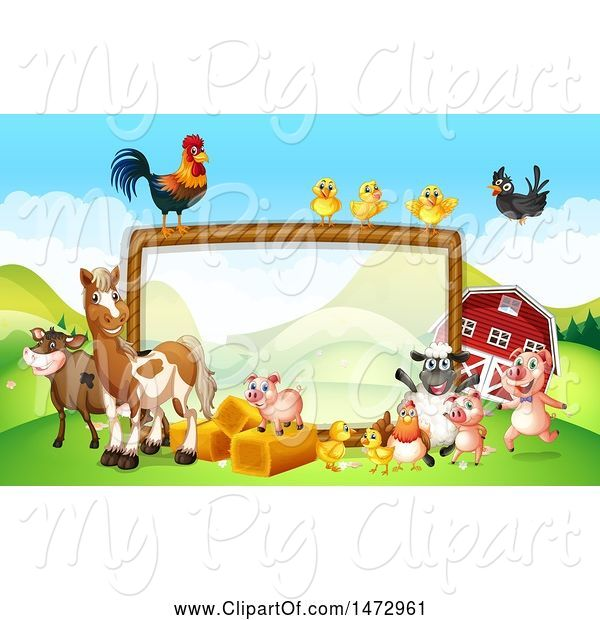 Swine Clipart of Group of Farm Animals