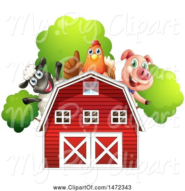 Swine Clipart of Group of Farm Animals over a Red Barn