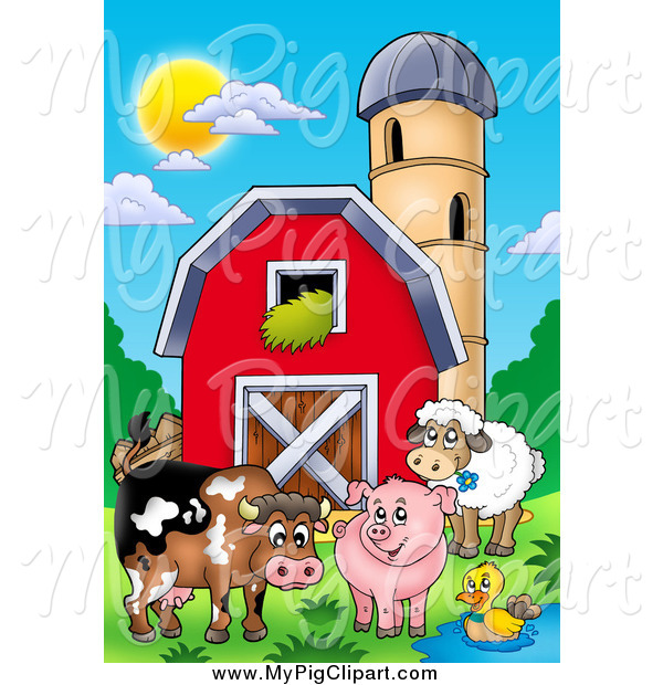 Swine Clipart of Happy Animals by a Barn and Silo Granary
