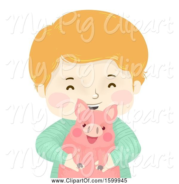 Swine Clipart of Happy Boy Holding a Pet Piggy