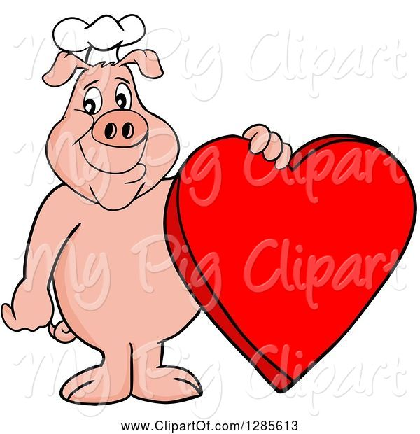Swine Clipart of Happy Cartoon Chef Pig Standing and Holding a Red Valentine Heart