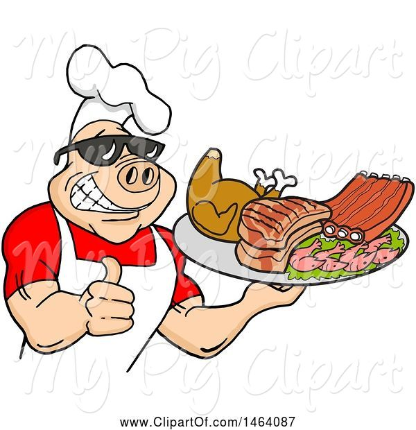 Swine Clipart of Happy Cartoon Muscular Chef Pig Wearing a Hat and Sunglasses, Holding a Thumb up and a Plate of Bbq Meats