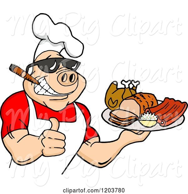 Swine Clipart of Happy Cartoon Muscular Chef Pig Wearing a Hat and Sunglasses, Smoking a Cigar, Holding a Thumb up and a Plate of Bbq Meats