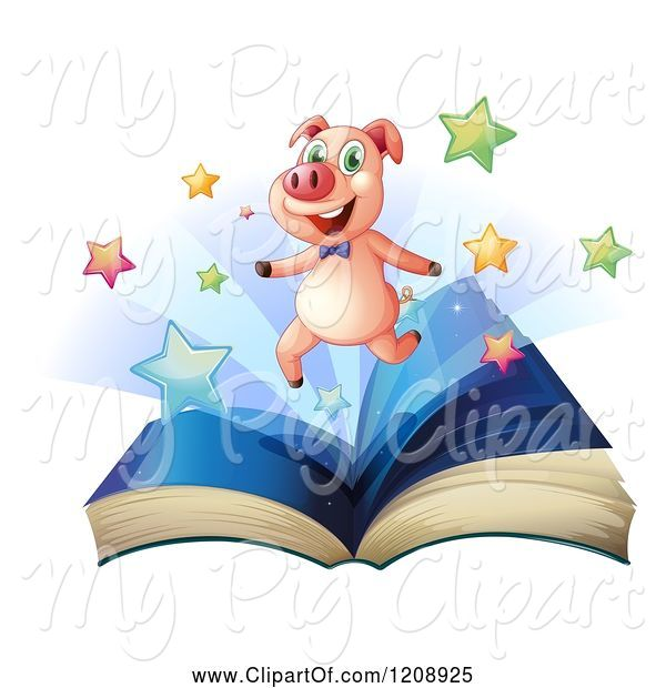 Swine Clipart of Happy Cartoon Pig and Stars over an Open Book