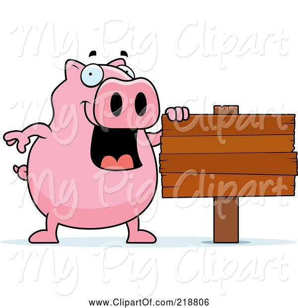 Swine Clipart of Happy Cartoon Pig by a Blank Sign