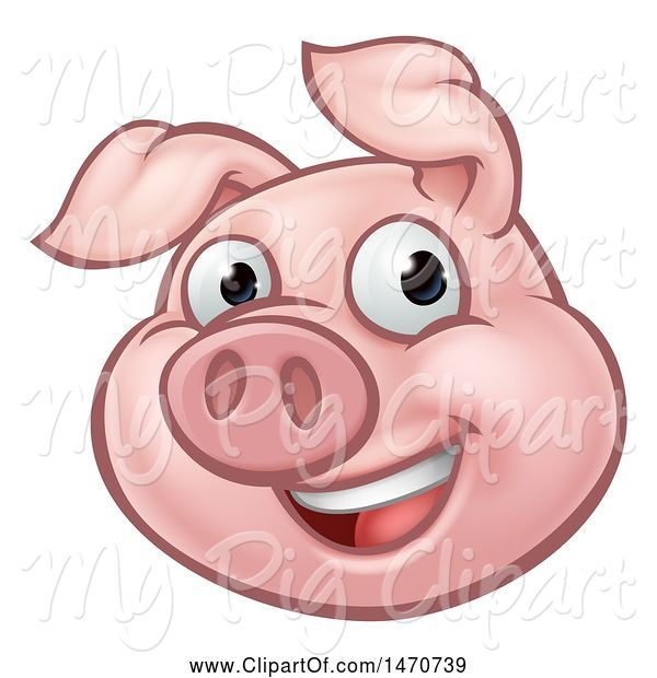 Swine Clipart of Happy Cartoon Pig Mascot
