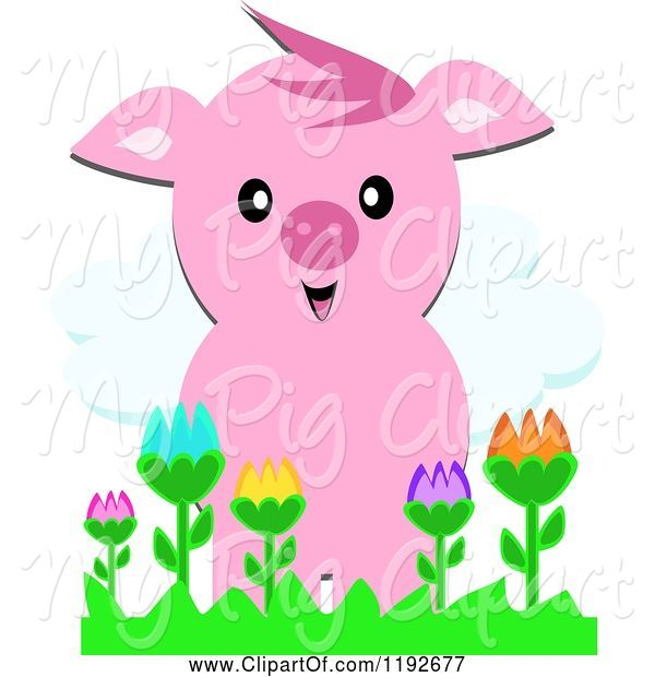 Swine Clipart of Happy Cartoon Pig over Colorful Flowers