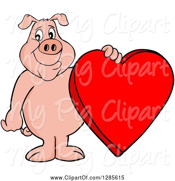Swine Clipart of Happy Cartoon Pig Standing and Holding a Red Valentine Heart