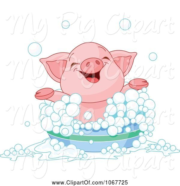 Swine Clipart of Happy Cartoon Piglet Taking a Bath